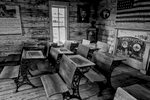 Black and White Photograph of Genuine old log cabins and businesses from the Wild West Moved to The Museum and RestoredImage No: 17-016939-BW  Click HERE to Add to Cart