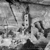Anasazi Ruins, Cliff Dwelling, fine art print, black and white, Square Tower House,