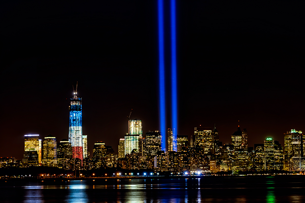 September 11th Memorial Lights & New World Trade CenterImage No:12-029100 Click HERE to Add To Cart