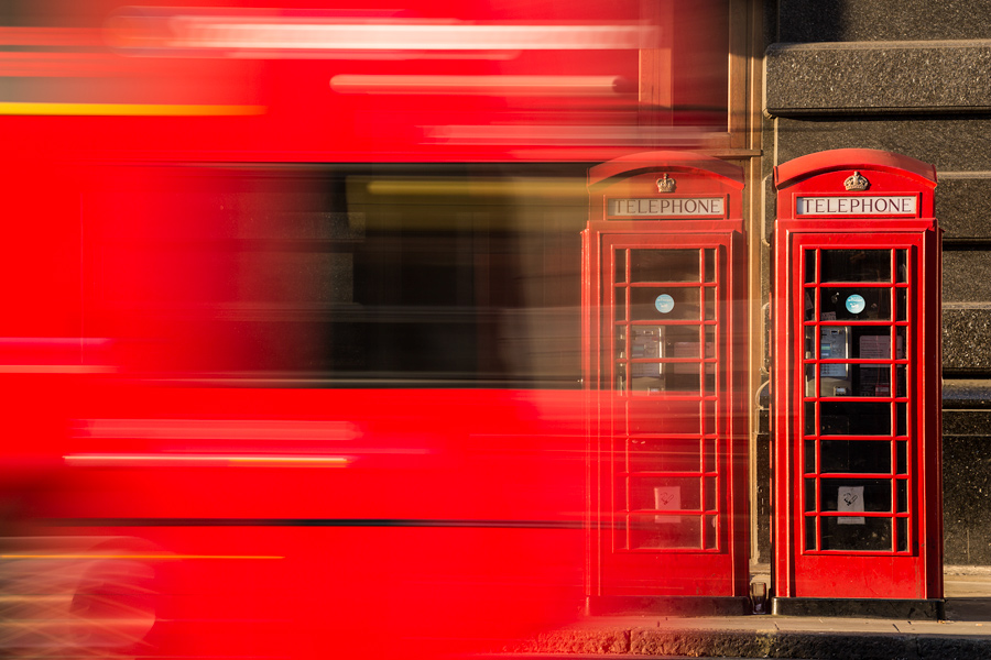 Phone booths are aplenty throughout London and I was perched by my tripod waiting for the right moment. A few Londoners walked by but they just did not seem right within the frame. A London bus drove by. Snap.