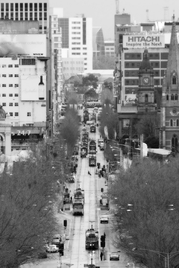 Looking down Swanston's St from a high vantage point, it was a day of dull weather. Decided to go B&W during post-processing and it definitely works better than a dull colour version.
