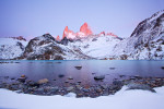 The discomfort of soaked shoes was soon forgotten when first light lit the peaks of Mt. Fitzroy.