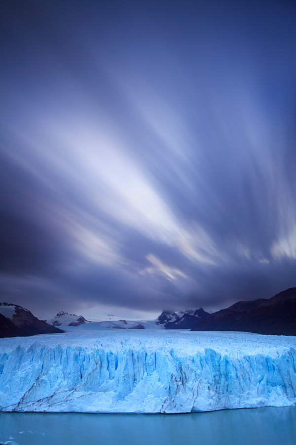 A 4 minute long exposure of the main portion of Perito Moreno Glacier. Long exposure noise reduction was enabled in the camera.