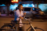Dining by a roadside, I was getting a little frustrated at missing the sunset and decided to grab some shots of the local people. The llight was really dim and I worked with a slow shutter speed, panned along with the man and his bike.