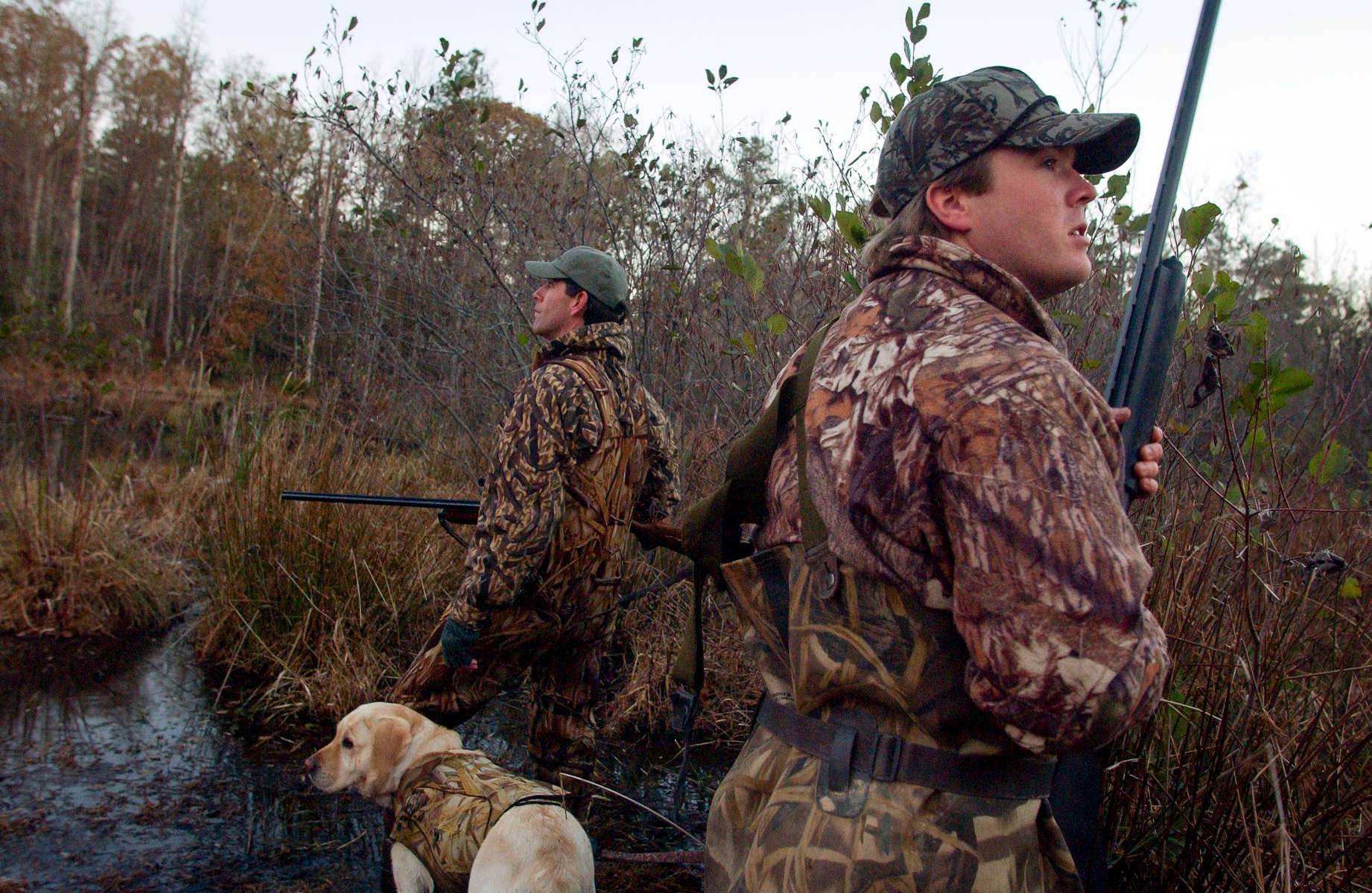 DUCKHUNT6.SP.110403.SAS --  R. J. Blondeau, right, his hunting partner, Glenn Veasey, and Veasey\'s English labrador retriever, Josie, watch the sky for ducks to arrive at their hunting spot in Franklin County. STAFF/SHER STONEMAN
