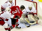 [CANESBUFFALO.5.SP.121500.SAS]Caption: CANESBUFFALO.5.SP.121500.SAS -- CANE\'S GOALIE ARTURS IRBE (1) cannot stop a shot by Buffalo\'s James Patrick (3), giving the Sabres their first goal against the Canes DURING THE FIRST PERIOD OF FRIDAY NIGHT\'S GAME AT THE ESA. Also pictured are Canes defebders Glen Wesley (2) and Kevin Hatcher (4). STAFF/SHER STONEMANPhotographer: SHER STONEMANTitle: Staff PhotographerCity: RALEIGHState: NCDate: 19780310ObjectName: CANESBUFFALO.5.SP.121500.SAS