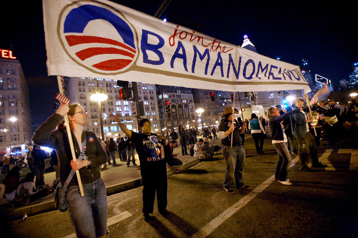Tickets to the event were limited, but that didn't stop people from coming to participate in the events. In the street outside the venue Obama supporters were already celebrating, and encouraging people to participate in the {quote}Obamanomenon.{quote}