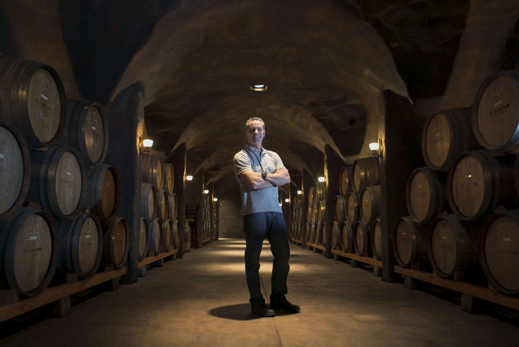 James Frey, winemaker and owner of Trisaetum Winery, Vineyards & Gallery in Newburg, Oregon, in the winery's barrel cave.
