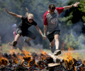 The Pyromaniac obstacle, one of 25 challenging events in the Rugged Maniac race in Portland.