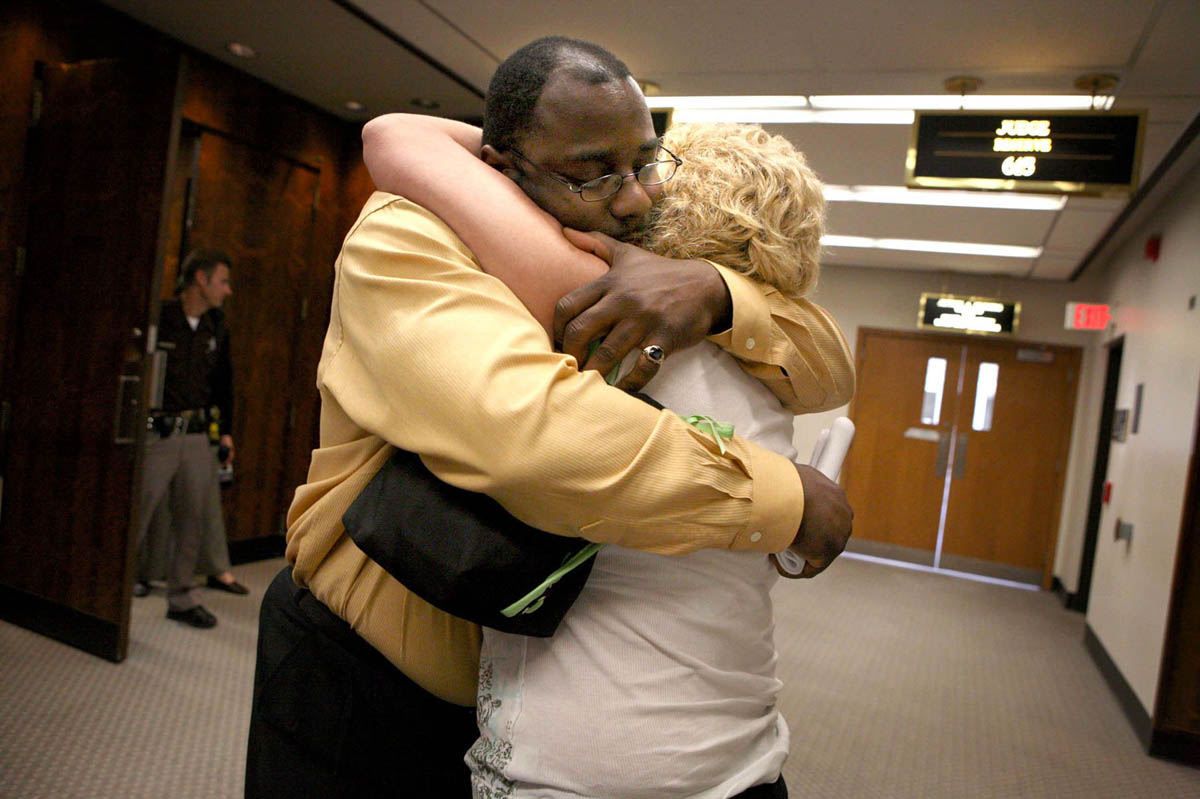 Community members David Evans and Becky Welk attended the Christopher Thomas trial, celebrating outside as the jury retured a guilty verdict for Crystal Keith. The jury deliberated for 46 minutes before finding Keith guilty of one count of first-degree reckless homicide and one count of physical abuse of a child (intentionally causing great bodily harm). Keith was sentenced to the maximum--60 years in prison for the death of 13-month-old Christopher Keith, and an additional 15 years for the abuse to his 2-year-old sister.