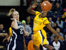 Marquette's Tatiyiana McMorris (right) watches the ball fly away after Notre Dame's Brittany Mallory knocked it out of her controlin the second half of Wednesday night's game at the Al McGuire Center in Milwaukee, January 5, 2011. Notre Dame won 73-55.