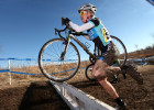 Lindsay Zucco of Elburn, IL carries her bike over an obstacle while competing in the Master 40-49 category at the first USA Cycling Cyclo-cross National Championships of the 2012 season, held in Verona, January 5, 2012. Over 1,000 racers are competing between Jan. 4-8 at the Badger Prairie Park venue. The course is 2.1-miles and has obstacles such as sand, run-ups and fly-overs.