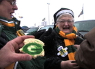 A cast of ever-loyal Packers fans braved the 0-degree temperatures to root on their team at Lambeau Field, as the Packers and Giants faced off for the NFC title.