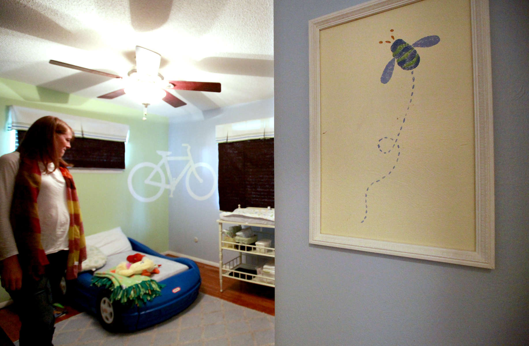 After Noah died, his bedroom remained closed for about a year until Sarah and her husband were expecting a second child. When they repainted, they kept one of the bees painted on the wall from when it was Noah's room, and put a frame around it. {quote}We had to keep a little bit of Noah here,{quote} says Sarah.
