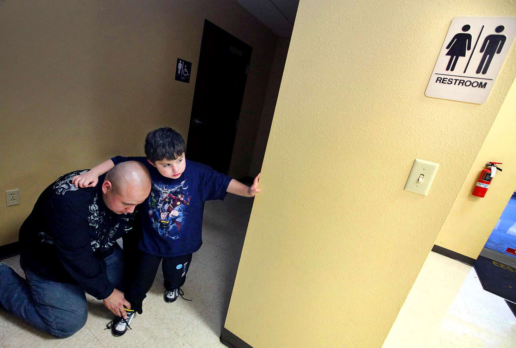 Bathroom issues are obviously a sensitive one for transgendered people. Izzy's father Diego rolls up his pant legs after using the men's bathroom. Because Izzy has a medical diagnosis, when he attends school they are required to make sure there is a facility for him to use, and he cannot be forced to use the girl's restroom.