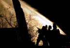 Town of Menasha firefighters battle a stubborn early morning fire, attempting to extinguish the hot spots.