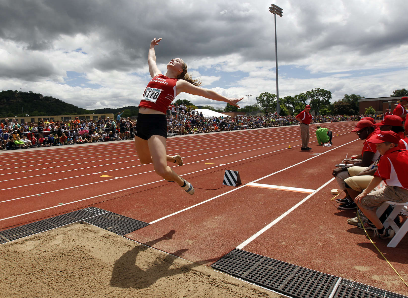 South Milwaukee's Mecaela Creighton competes in the Division 1 girls long jump at the WIAA 2013 Boys & Girls State Track and Field Division.