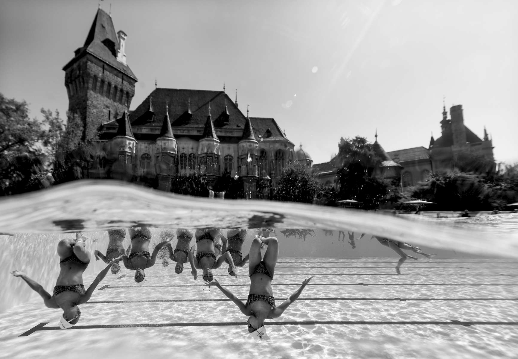 The Synchronised Swimming Team of France trains in front of the Vajdahunyad Castle during day 4 of the Budapest 2017 FINA World Championships on July 17, 2017 in Budapest, Hungary.