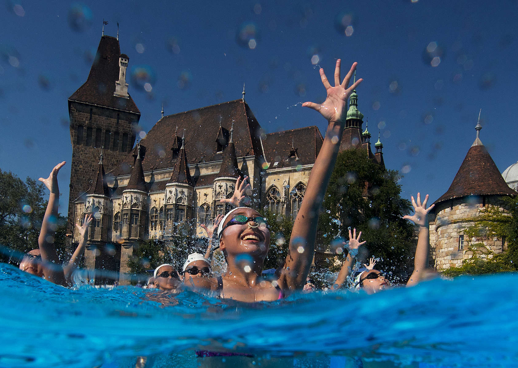 Team Macau trains in front of the Vajdahunyad Castle during day 4 of the Budapest 2017 FINA World Championships on July 17, 2017 in Budapest, Hungary.
