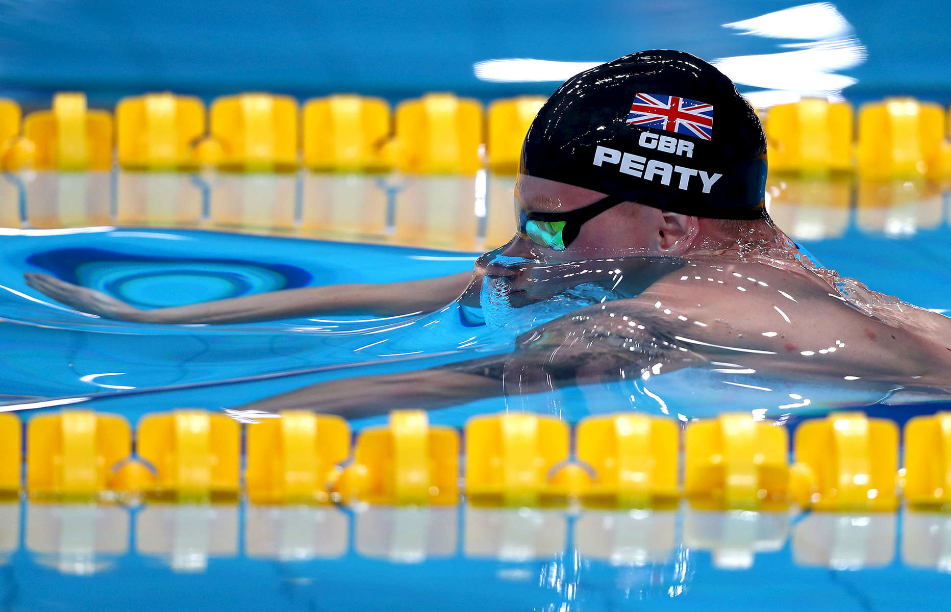 Adam Peaty of Great Britain competes during the Men's 100m Breaststroke Semi-finals on day ten of the Budapest 2017 FINA World Championships on July 23, 2017 in Budapest, Hungary