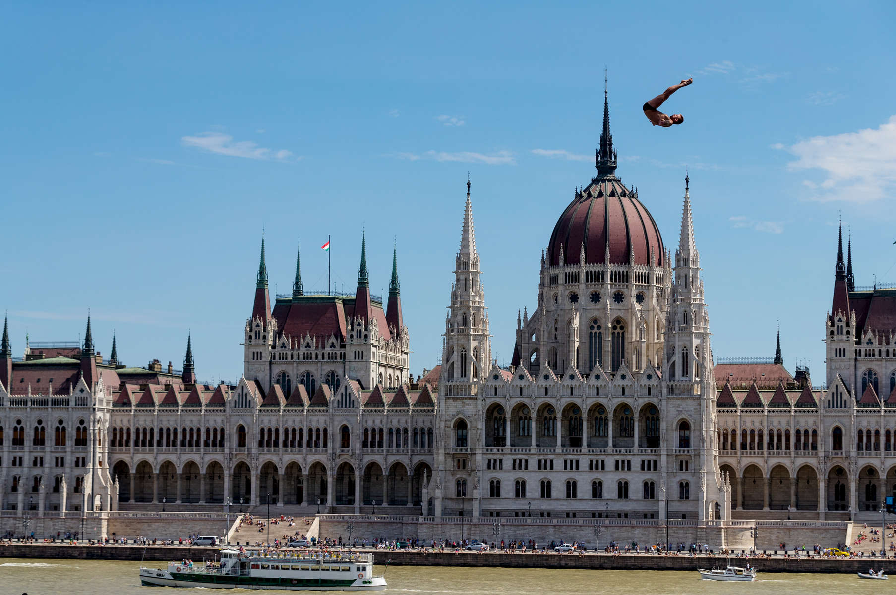 Artem Silchenko of Russia competes during the Men's High Diving on day seventeen of the Budapest 2017 FINA World Championships on July 30, 2017 in Budapest, Hungary.