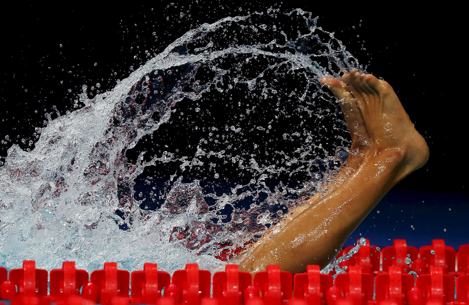 An athlete competes during the Men's 1500m Freestyle heats on day sixteen of the Budapest 2017 FINA World Championships on July 29, 2017 in Budapest, Hungary.