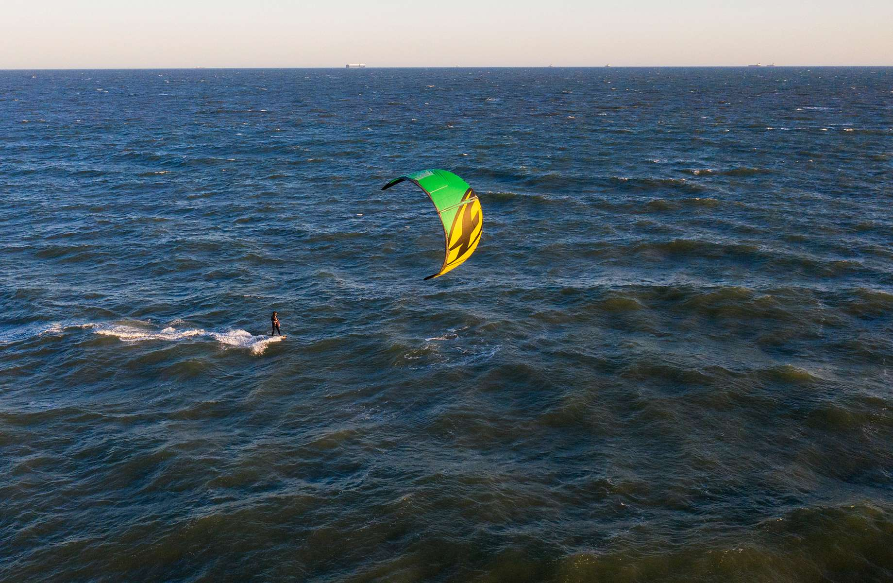 An Aerial view of a man kite surfing on May 07, 2020 in Long Beach, New York.