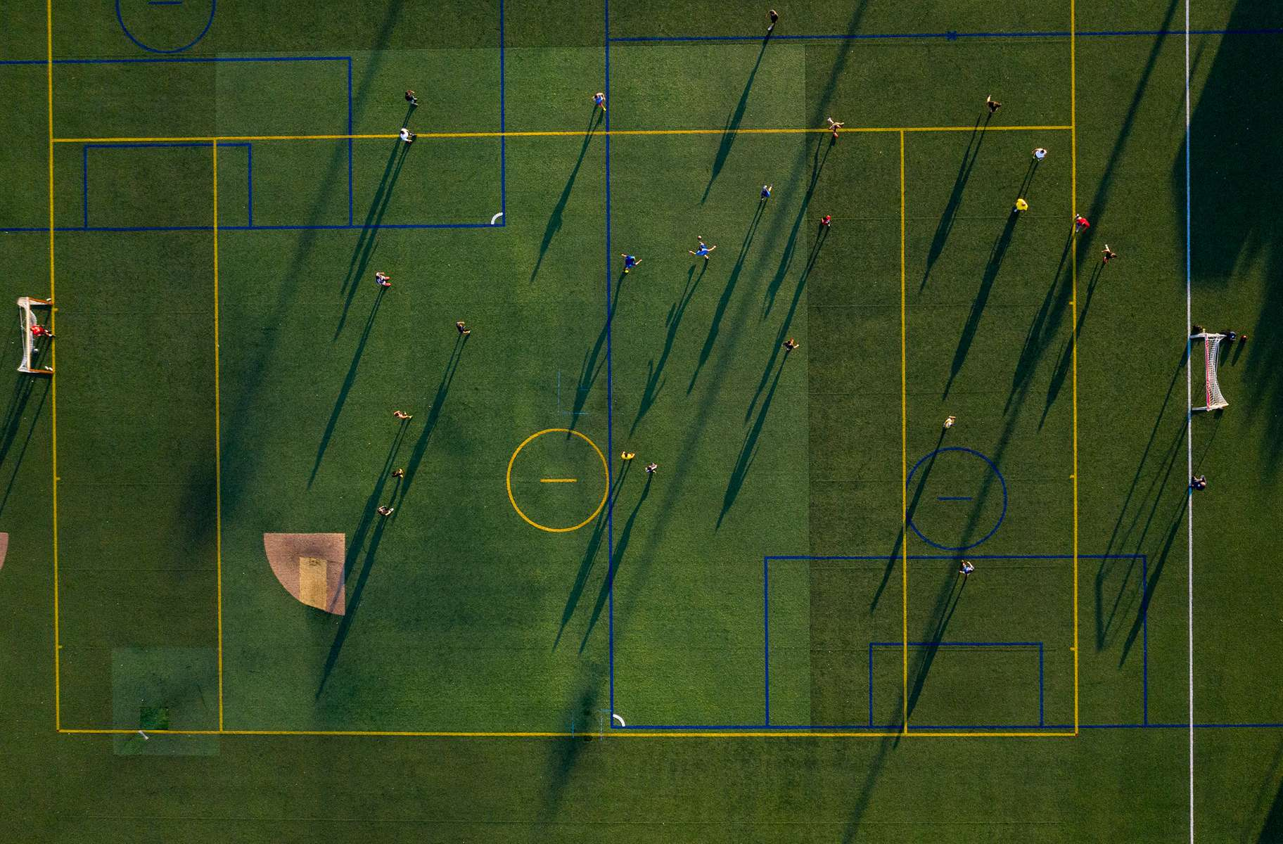 An aerial view of people playing soccer on July 14, 2020 in Long Beach, New York.  Local sports are starting to pick up in New York amidst the coronavirus pandemic.  More than 3,433,100 people in the United States have been infected with the coronavirus and at least 136,100 have died