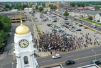 An Aerial view of Town Hall as people protest over the killing of George Floyd by a Minneapolis Police officer on June 05, 2020 in Hempstead, New York. The white police officer, Derek Chauvin, has been charged with second-degree murder and the three other officers who participated in the arrest have been charged with aiding and abetting second-degree murder. Floyd's death, the most recent in a series of deaths of black Americans at the hands of police, has set off days and nights of protests across the country.