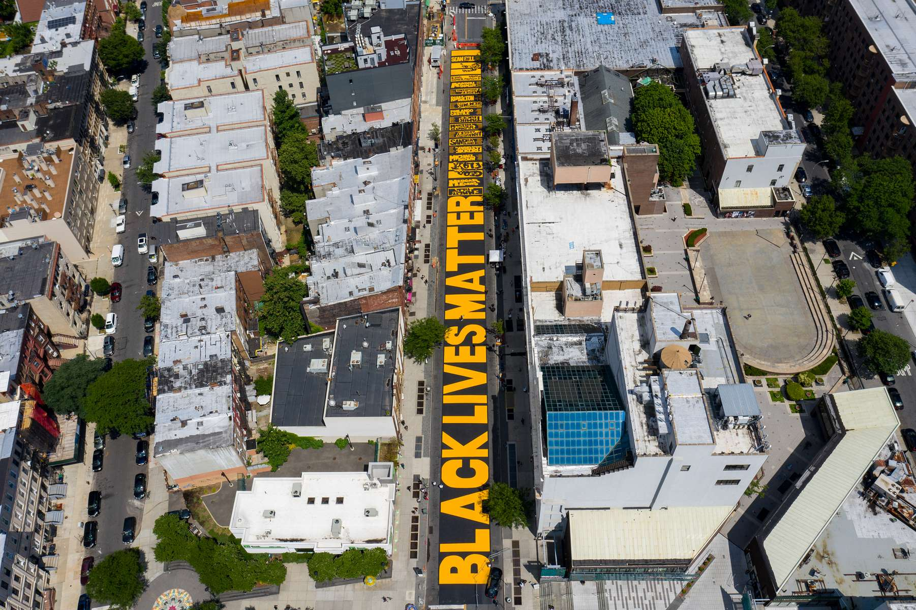 An Aerial view of a Black Lives Matter Mural on June 29, 2020 in the Bedford Styvesant Neighborhood of Brooklyn, New York.