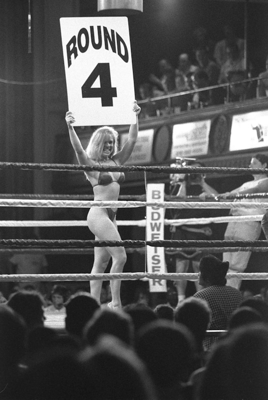 A view from the lower seats as a ring card girl holds up a round 4 card during Fight Night at the Blue Horizon on May 26, 1996 in Philadelphia