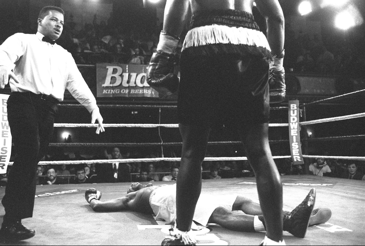 Former USA Olympian Antonio Tarver knocks out Jason Burrell in the second round during Fight Night at the Blue Horizon on April 29, 1997 in Philadelphia, Pennsylvania