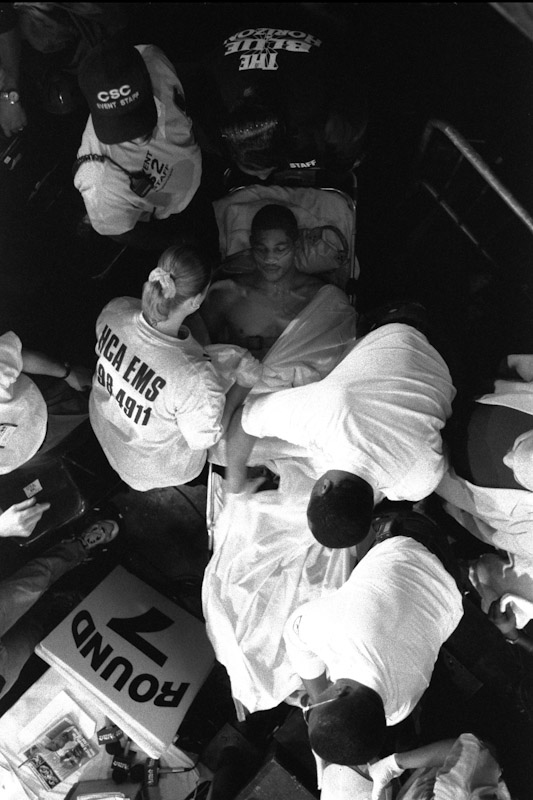 Mariano Marquez is carried out on a stretcher after being knocked out in the 6th round by Patrick Cann during Fight Night at the Blue Horizon on April 29, 1997 in Philadelphia, Pennsylvania