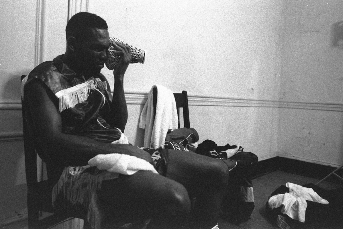 Antoine Byrd ices his swollen face in his dressing room after loosing a 12 round decision to Joe Kiwanuka during Fight Night at the Blue Horizon on April 29, 1997 in Philadelphia, Pennsylvania