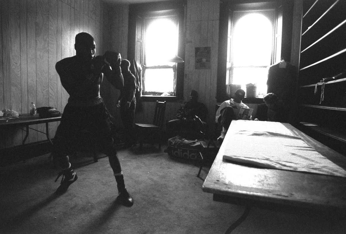 Eric Mitchell warms up prior to his bout during Fight Night at the Blue Horizon on April 29, 1997 in Philadelphia, Pennsylvania
