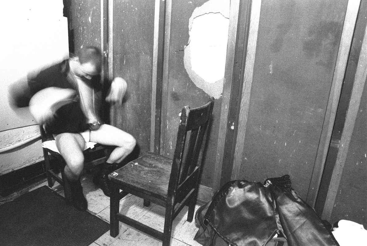 Rocky McCray warms up in his dressing room prior to his bout during Fight Night at the Blue Horizon on April 29, 1997 in Philadelphia, Pennsylvania.