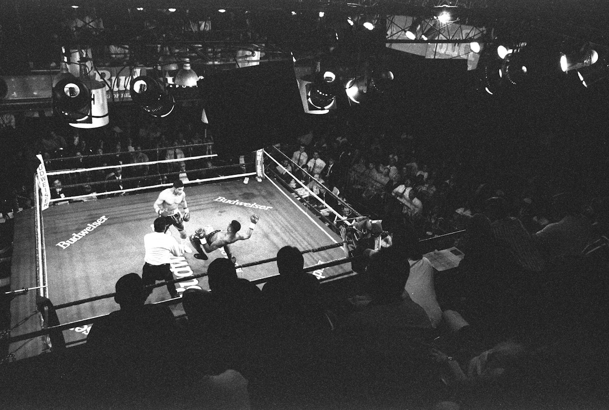 A view from the upper stands as fans watch Mariano Marquez put down Patrick Cann during Fight Night at the Blue Horizon on April 29, 1997 in Philadelphia, Pennsylvania