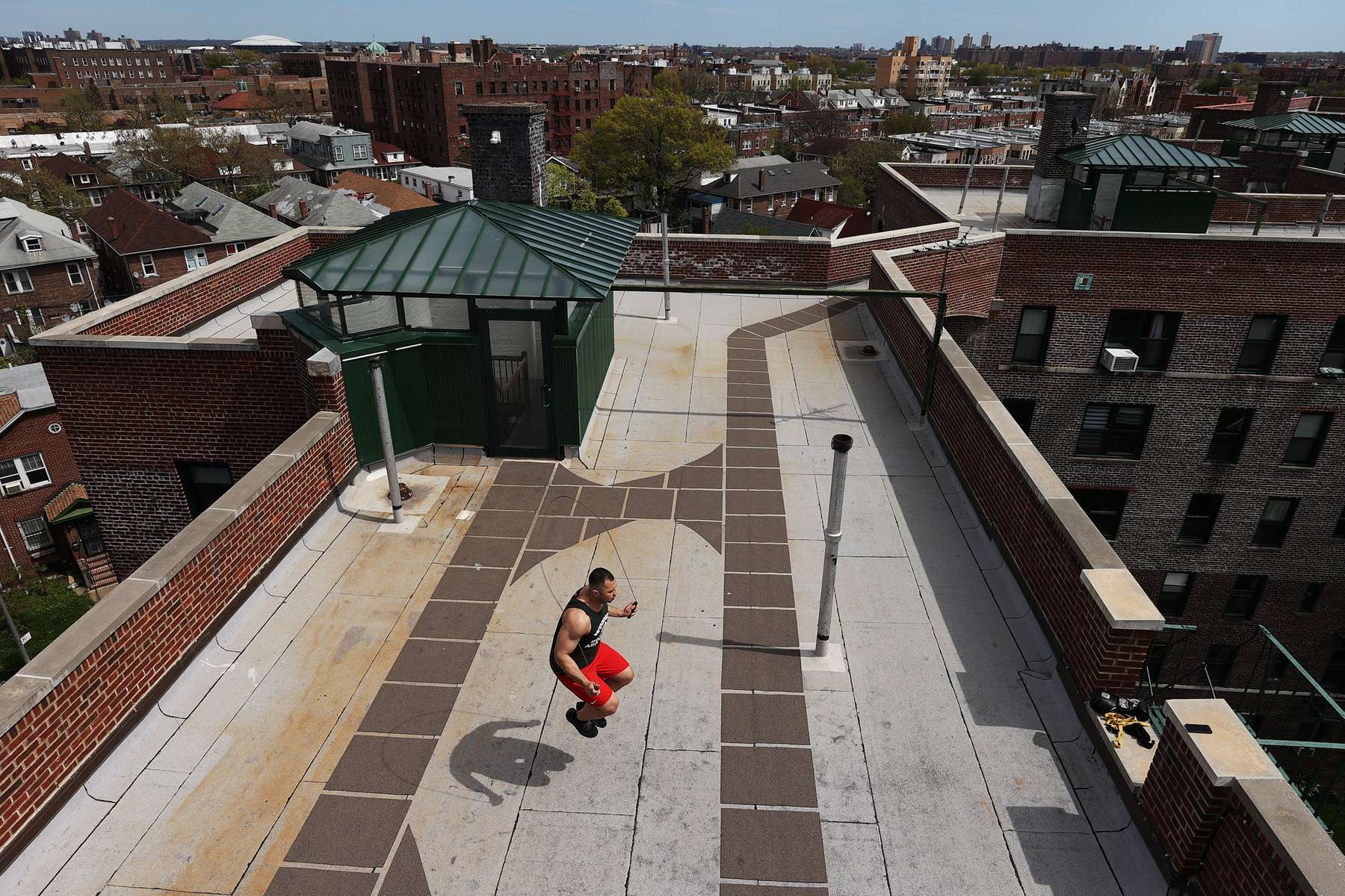 Amateur Boxer and New York City Firefighter Jonathan Velasquez trains on the rooftop of his building on May 02, 2020 in the neighborhood of Jackson Heights in the Borough of Queens, New York.  Local Amateur Boxers have continued To train as best they can during coronavirus COVID-19 Pandemic.  The World Health Organization declared coronavirus (COVID-19) a global pandemic on March 11th.