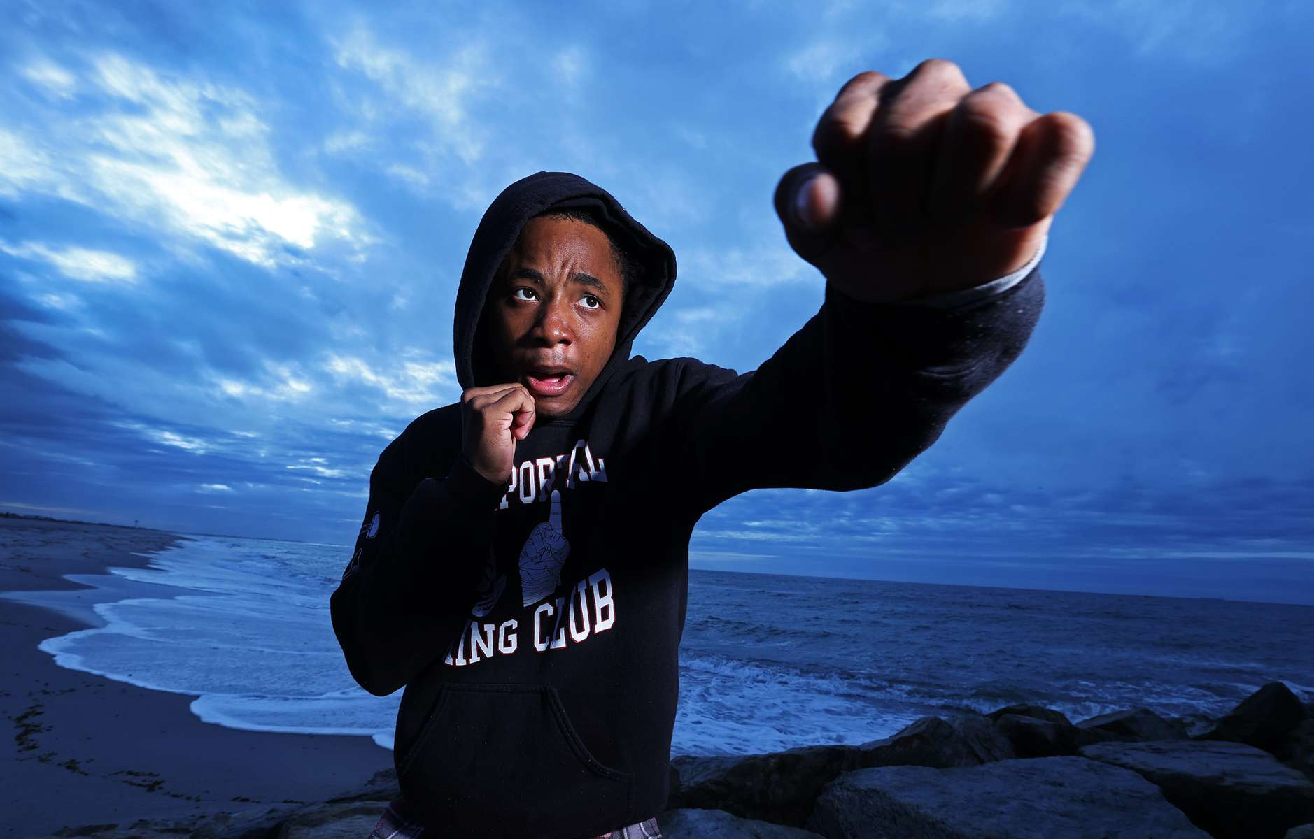 Alan Teemer Jr. shadowboxes on the beach on May 18, 2020 in Long Beach, New York.  Alan is an Amateur boxer who fought in the New York City Golden Gloves and made the Semi Finals in the Open 123lb class. He was training to compete in this year's Golden Gloves tournament but it has been cancelled due to the coronavirus pandemic.  The Gym he fights for is called the Freeport Boxing Club and has been closed by New York Governor Andrew Cuomo since March 16th due to the coronavirus COVID-19 pandemic.  Until the gyms are deemed safe to open he will continue to stay fit by training at home with the hope that he can box again later this year.