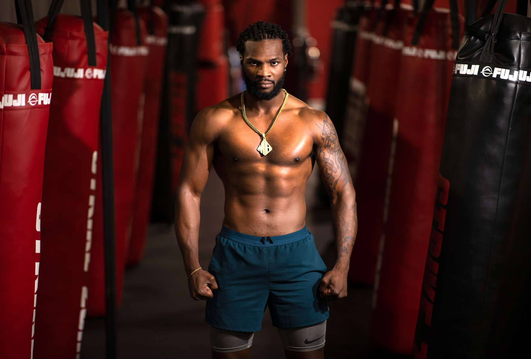 Former WBA Light Heavyweight Champion boxer Marcus Browne poses for a portrait at the Impact Zone fitness and sports performance training facility on July 17, 2020 in Norwood, New Jersey.   In addition to his normal boxing workouts, Browne has been experimenting with alternative training methods to improve his fitness during the coronavirus pandemic as he seeks to regain the Light Heavyweight Championship. More than 3,680,000 people in the United States have been infected with the coronavirus and at least 141,000 have died.