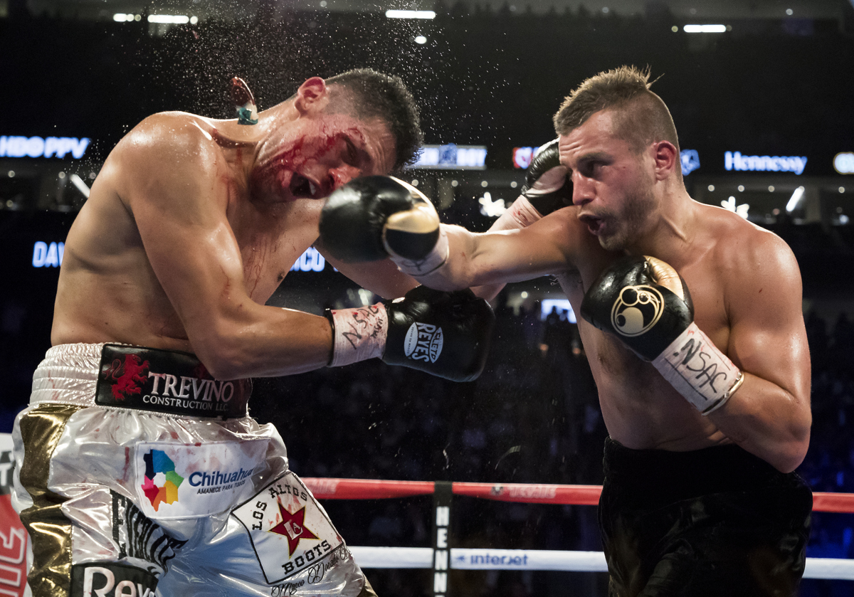 David Lemieux knocks the mouthpiece out of Marcos Reyes mouth during their middleweight bout at T-Mobile Arena on May 6, 2017 in Las Vegas, Nevada.