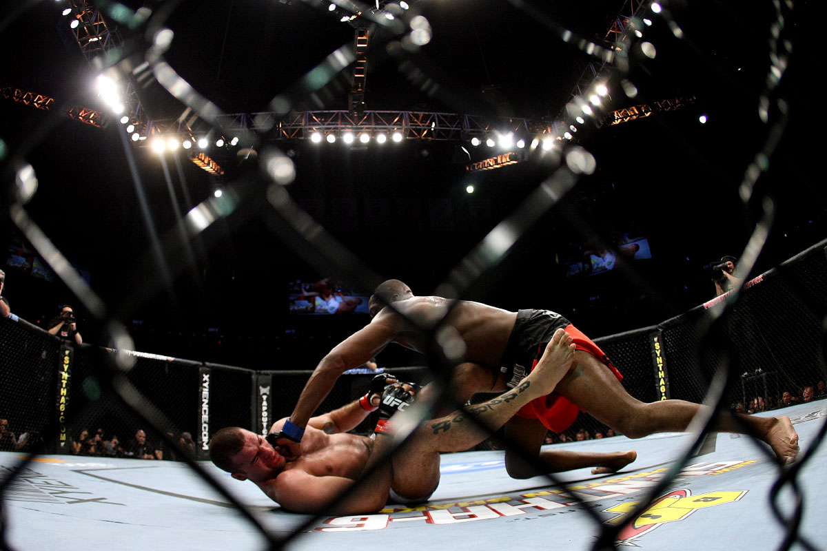 Jon Jones punches Mauricio {quote}Shogun{quote} Rua on the ground during their light heavyweight championship bout at UFC 128 at the Prudential Center on March 19, 2011 in Newark, New Jersey.