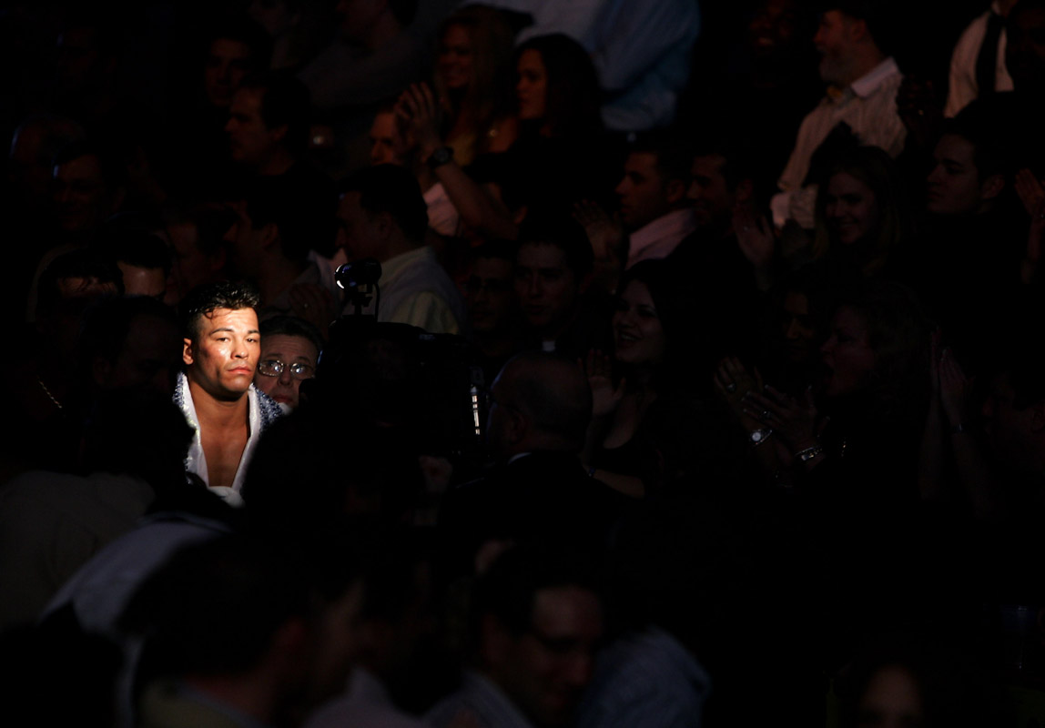 Arturo Gatti enters the ring before his bout with Jesse James Leija for the WBC Super Lightweight Championship at Boardwalk Hall on January 29, 2005 in Atlantic City, New Jersey.