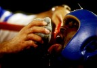 Ariel Hernandez of Cuba between rounds of his fight against Jean-Paul Mendy of France at the Goodwill Games on July 31, 1998 at  the Theater at Madison Square Gardens in New York.