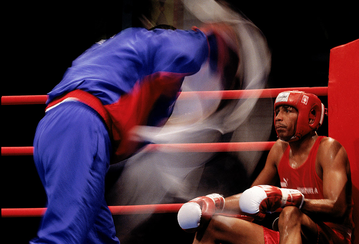 Helis Yanez of Venezuela sits in his corner during the boxing competition at the Pan American Games on August 1, 1999 in Winnipeg, Manitoba, Canada