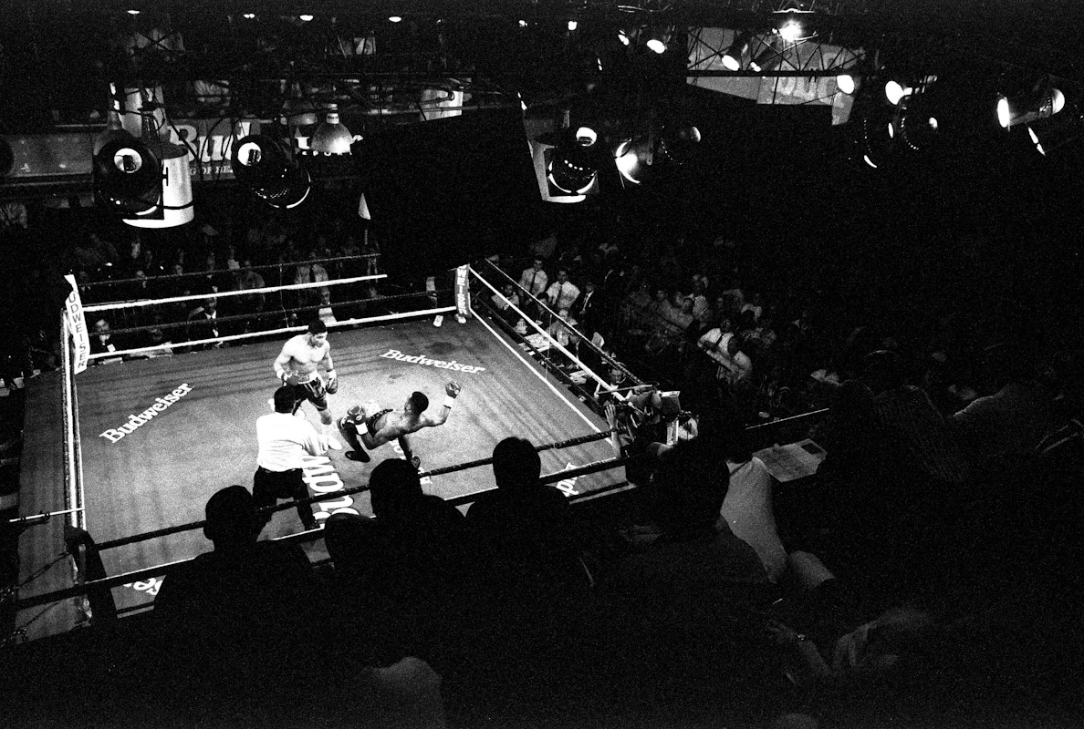 A view from the upper stands as fans watch Mariano Marquez put down Patrick Cann during Fight Night on April 29, 1997 at the Blue Horizon in Philadelphia, Pennsylvania.