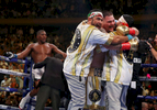 Andy Ruiz Jr celebrates his seventh round tko against  Anthony Joshua after their IBF/WBA/WBO heavyweight title fight at Madison Square Garden on June 01, 2019 in New York City.