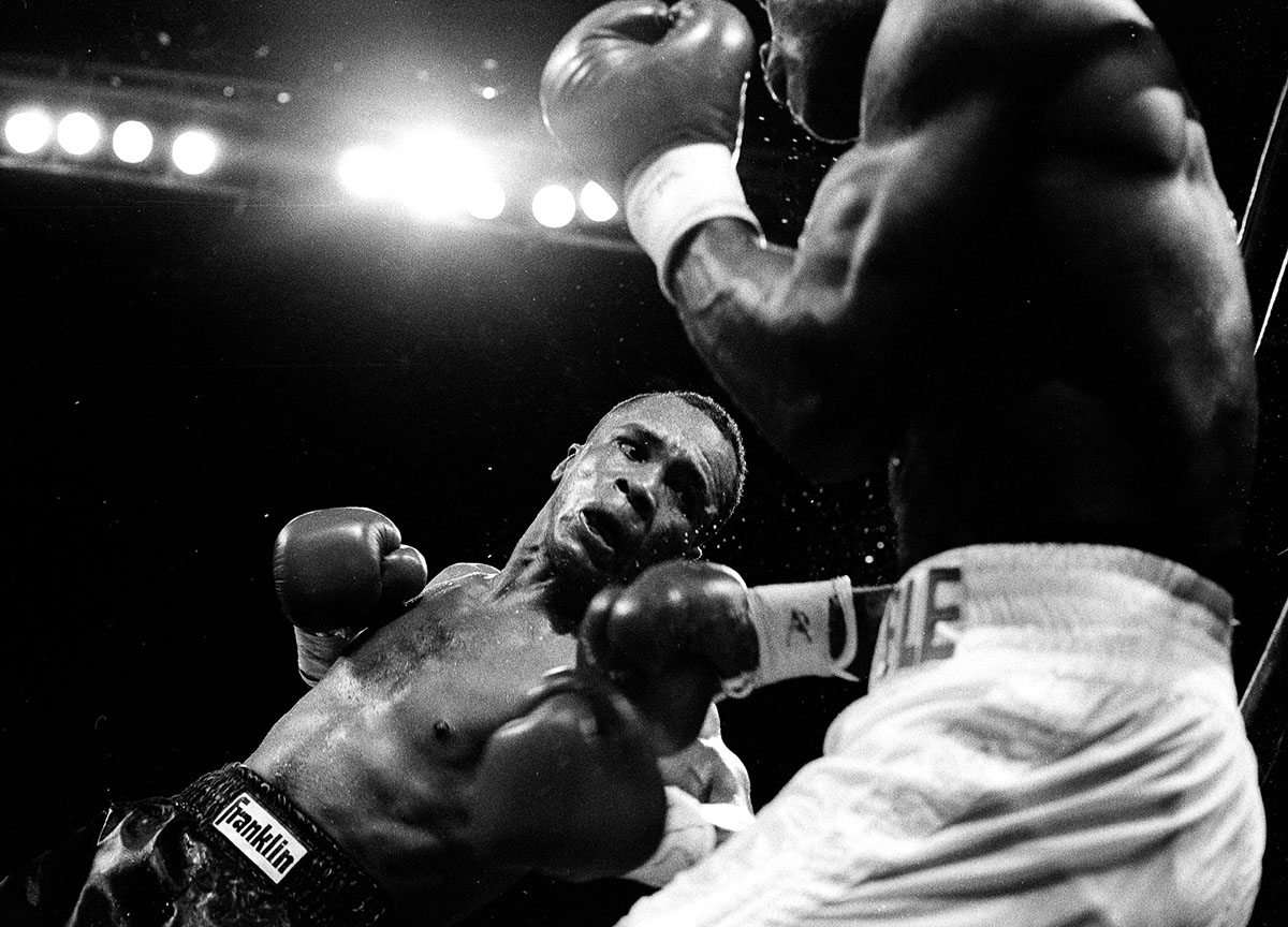 Sugar Ray Leonard punches Terrible Terry Norris during their Junior Middleweight Championship fight at Madison Square Garden on February 9, 1991