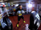 Light Heavyweight boxer Marcus Browne hits the mitts with trainer Gary Stark at the Park Hill Boxing Club on December 1, 2015 in Staten Island New York.