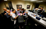 Marcus Browne and his team prepare for his Cruiserweight bout against Francisco Sierra of Mexico on December 5, 2015 in the Brooklyn borough of New York City.